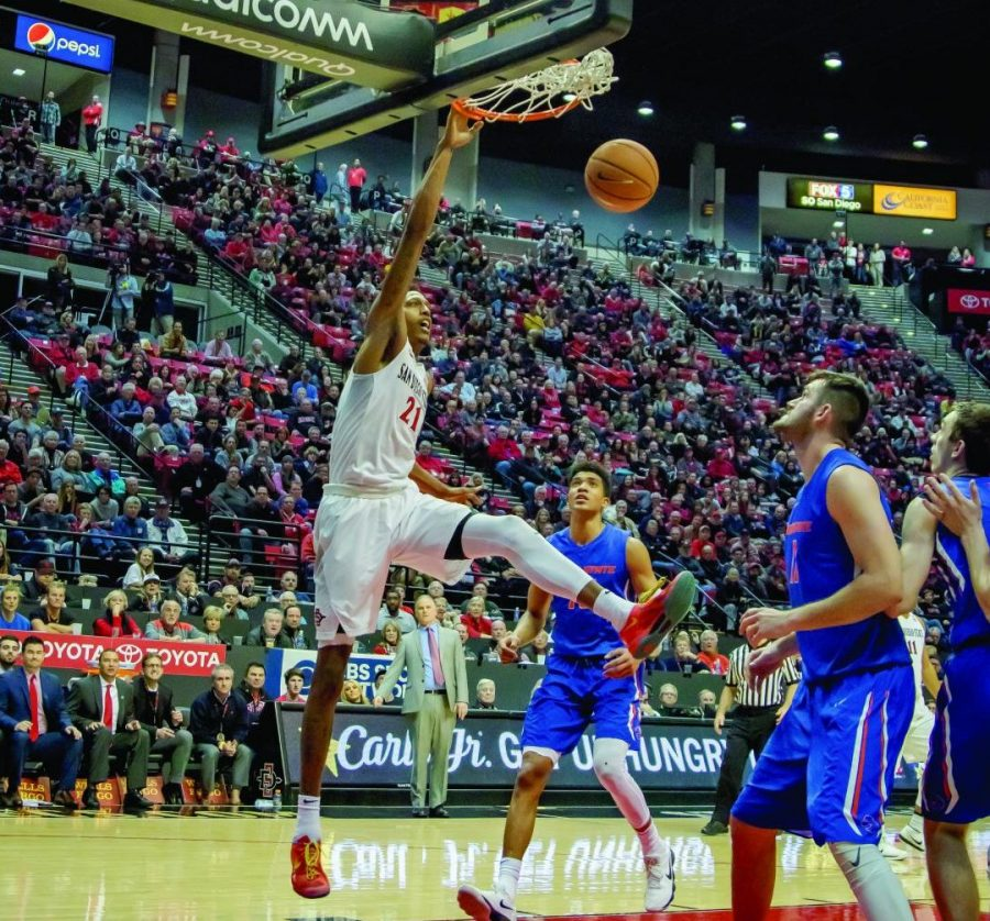 Senior+forward+Malik+Pope+throws+down+a+dunk+during+the+Aztecs+72-64+victory+over+Boise+State+on+Feb.+27+at+Viejas+Arena