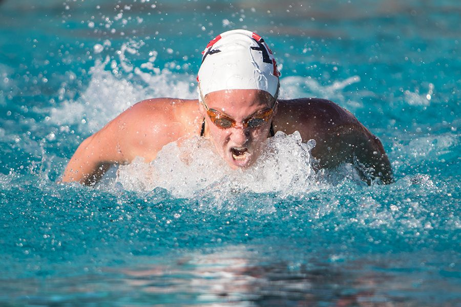 Senior swimmer Frida Berggren competes in the 200-meter butterfly event during the Aztecs' dual meet with Pepperdine University on Dec. 1.
