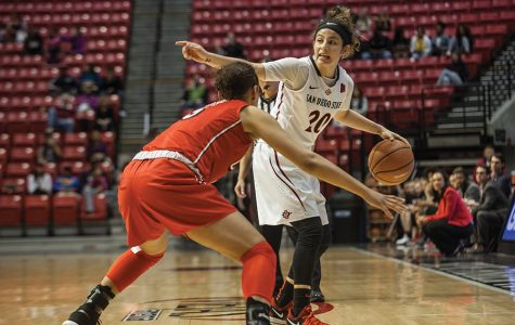 Senior guard Geena Gomez  controls the ball during the Aztecs 75-64 loss to UNLV on Jan. 27 at Viejas Arena.