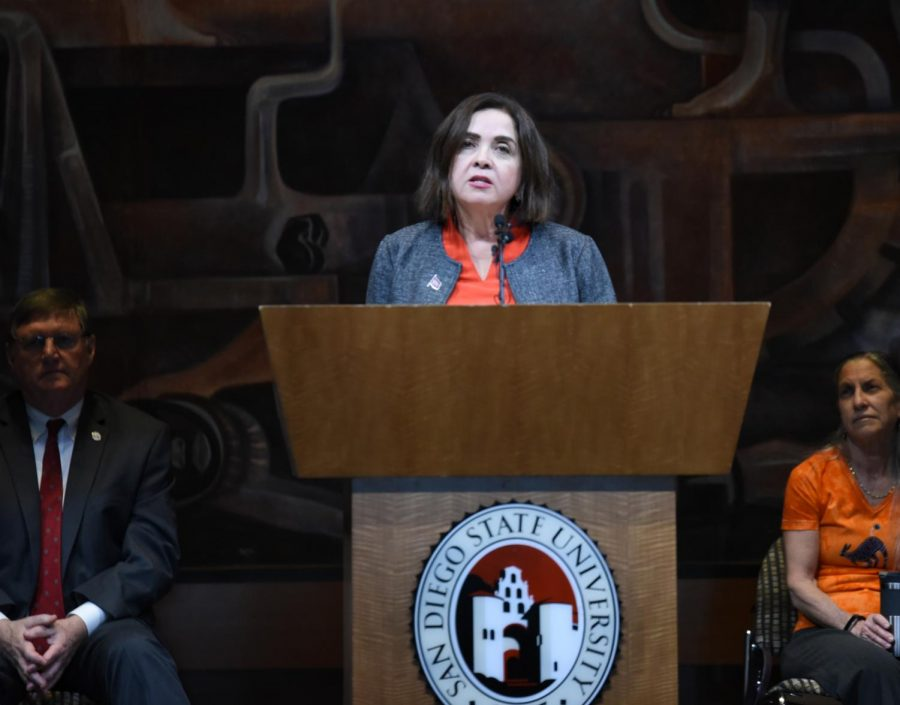 San Diego State's newly-selected president, Adela de la Torre, addresses the university for the very first time in Montezuma Hall.