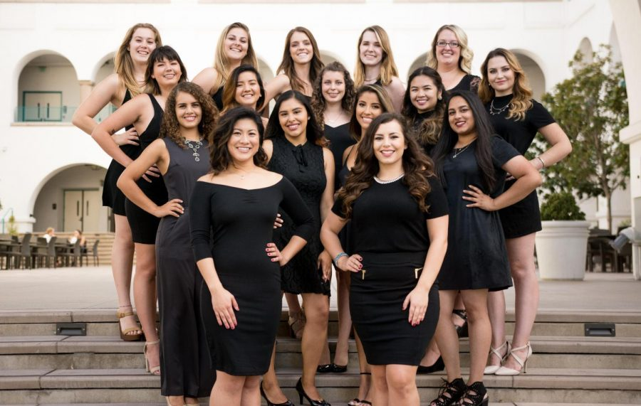 Sirens of State members pose for a group photo in the Conrad Prebys Aztec Student Union.