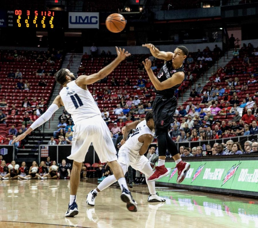 Trey+Kell+throws+a+pass+during+the+Aztecs+90-73+victory+over+Nevada+on+March+9+at+the+Thomas+%26+Mack+Center+in+Las+Vegas.+