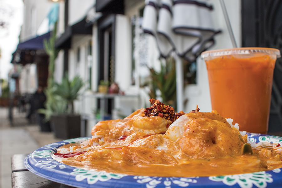 Bahn Thai's popular dish includes this shrimp panang curry and pairs well with a Thai tea.