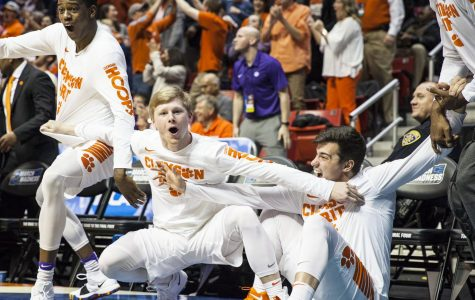 Clemson players react during the Tigers 79-68 victory over New Mexico State on March 16 at Viejas Arena.