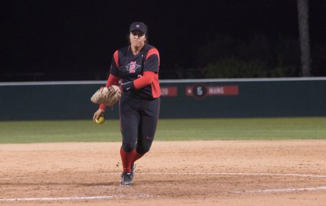 Sophomore Marissa Moreno prepares to throw a pitch during the Aztecs 2-0 loss to Cal State Northridge on March 2 at SDSU Softball Stadium.