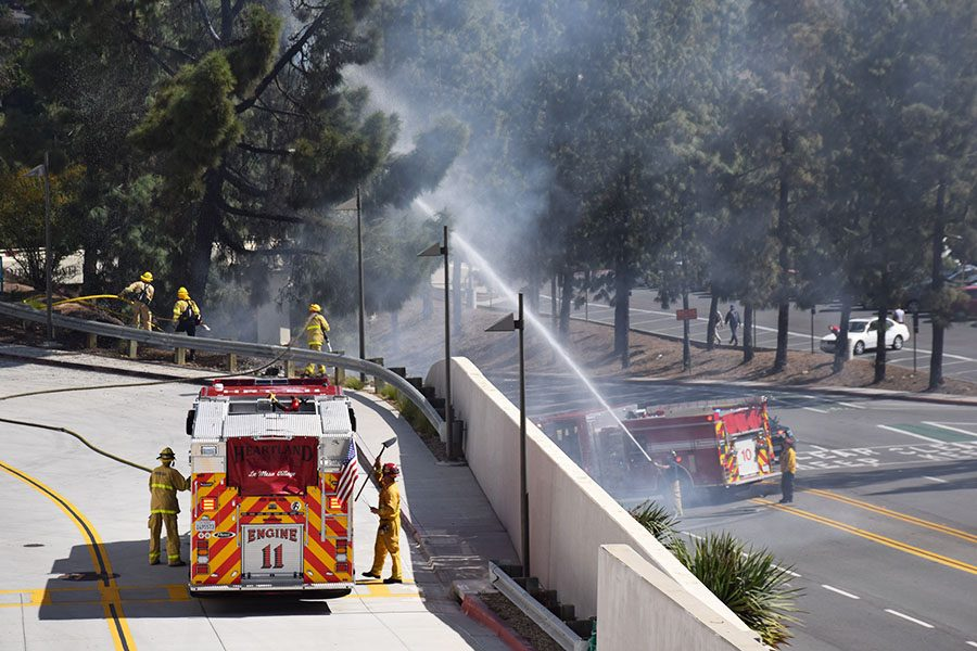 Firefighters battle a brush fire on SDSU's campus Wednesday morning.