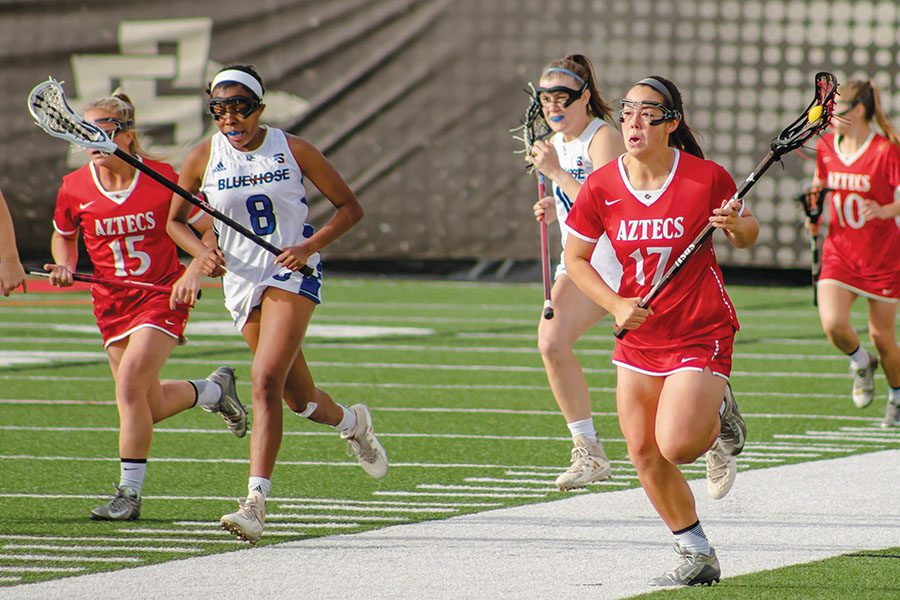 Junior+midfielder+Harlowe+Steele+runs+up+the+field+during+the+Aztecs+22-2+victory+over+Presbyterian+on+March+5+at+the+Aztec+Lacrosse+Field.+