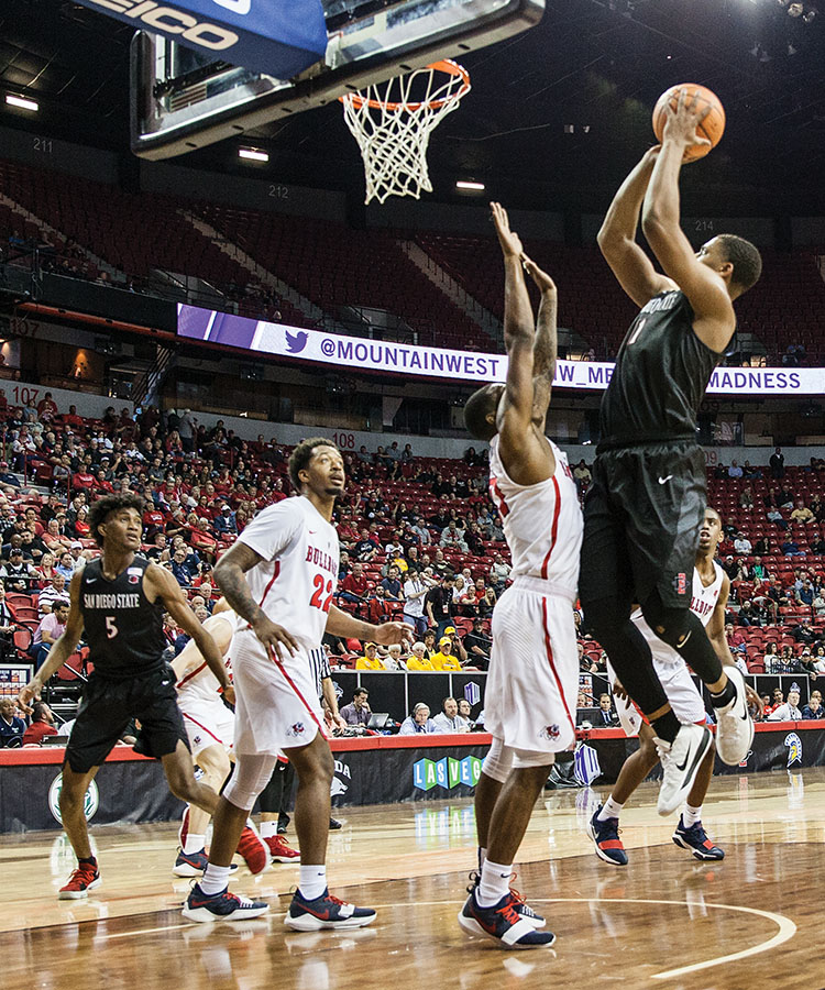 Freshman forward Matt Mitchell goes up for a shot during the Aztecs 64-52 victory over Fresno State on March 8 at the Thomas & Mack Center in Las Vegas.