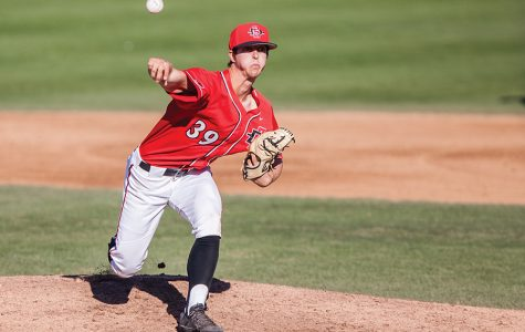 Junior right hander Garrett Hill throws a pitch during the Aztecs 5-4 victory over Grand Canyon on Feb. 25 at Tony Gwynn Stadium.