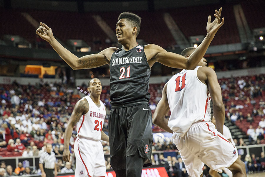 Senior forward Malik Pope at San Diego State's March 10 game against Fresno State in Las Vegas. Pope was briefly suspended last month after his name surfaced in leaked documents related to a federal investigation into basketball corruption.