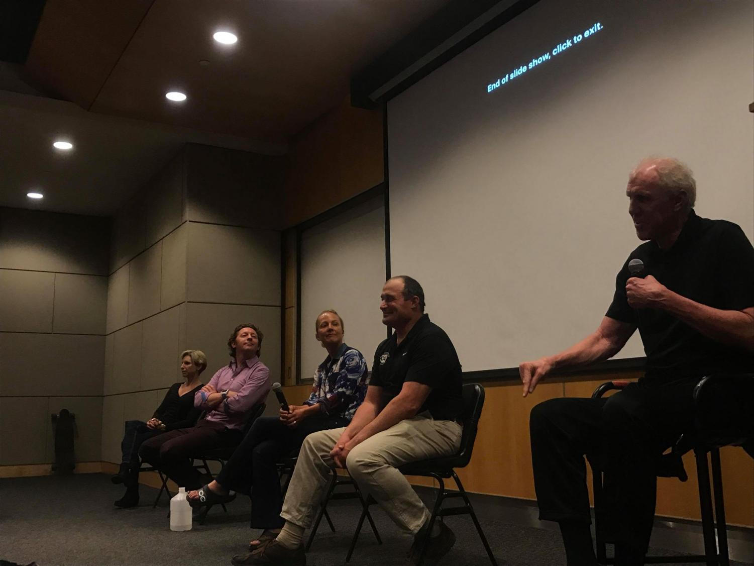 From left to right, Paula Newby Fraser, Simon Marshall, Leslie Patterson, Nico Marcolongo and Bill Walton discuss how former athletes deal with the ends of their careers at the