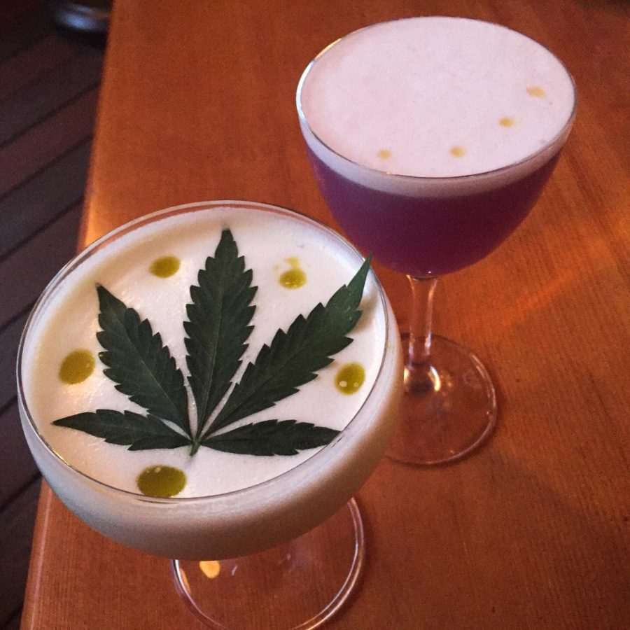 Madison+on+Park%E2%80%99s+Mr.+Nice+Guy+and+Purple+Rain+cocktails+both+feature+floating+drops+of+cannabidiol+oil.+