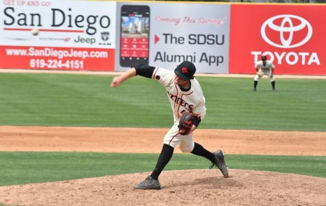 Redshirt junior pitcher Justin Goossen-Brown throws off the mound during the Aztecs 9-6 victory over Cal State Fullerton at Tony Gwynn Stadium on April 15.