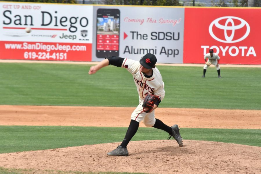 Redshirt+junior+pitcher+Justin+Goossen-Brown+throws+off+the+mound+during+the+Aztecs+9-6+victory+over+Cal+State+Fullerton+at+Tony+Gwynn+Stadium+on+April+15.