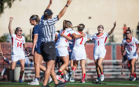 The Aztecs celebrate a goal during the teams 16-6 victory over Fresno State in the MPSF Championship semifinals on April 27 at the Aztec Lacrosse Field.