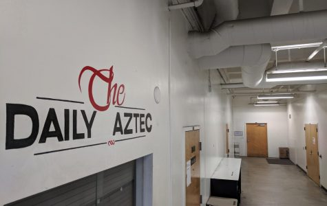 The Daily Aztec newsroom in the basement of the Education and Business Administration building.