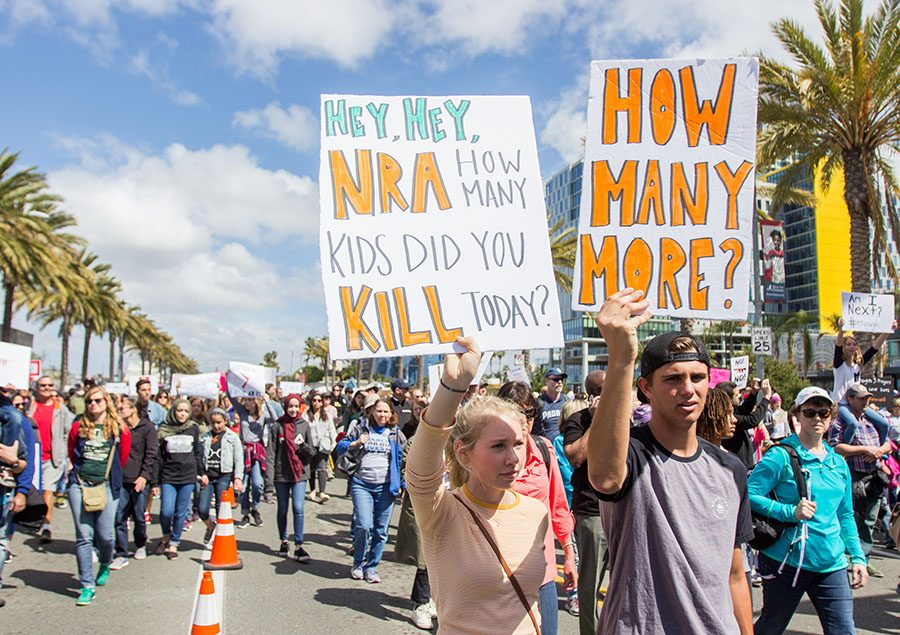 Protesters at the downtown San Diego March for Our Lives, Saturday, March 24.