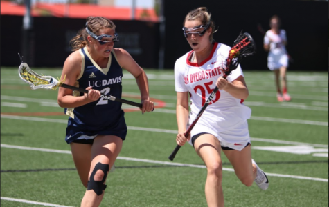 SDSU sophomore defender Sarah McDonagh (25) is chased by UC Davis sophomore attacker Amanda Outcalt (2) during the Aztecs 15-9 defeat to the Aggies at the Aztec Lacrosse Field on April 8.