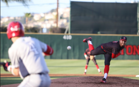 Junior pitcher Harrison Pyatt throws a pitch during the Aztecs 3-2 win over Fresno State on April 20 at Tony Gwynn Stadium.