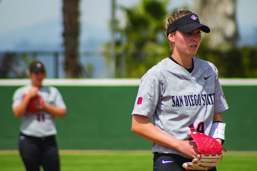 Senior pitcher Alex Formby stands on the pitchers mound during the Aztecs 11-1 loss against Boise State at SDSU Softball Stadium on March 31.