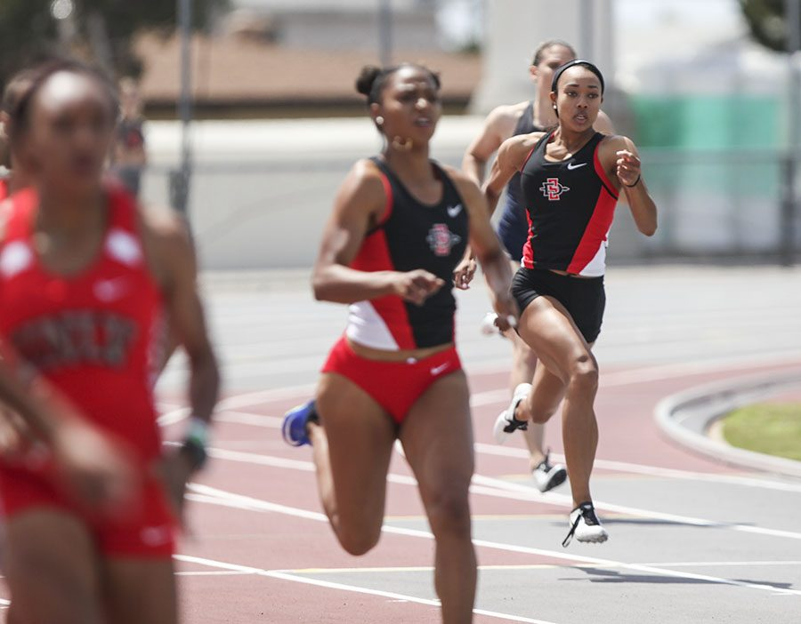 Lakin Hatcher (far right) competes in the 400 meter dash during the Mountain West Challenge at the Aztrack Sports Deck on April 6.