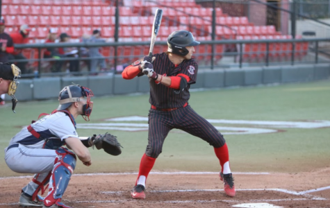 Freshman Casey Schmitt prepares to swing during the Aztecs 3-2 win over Fresno State on April 20 at Tony Gwynn Stadium.