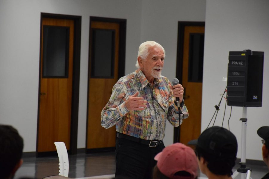 Cell phone inventor makes a call on campus