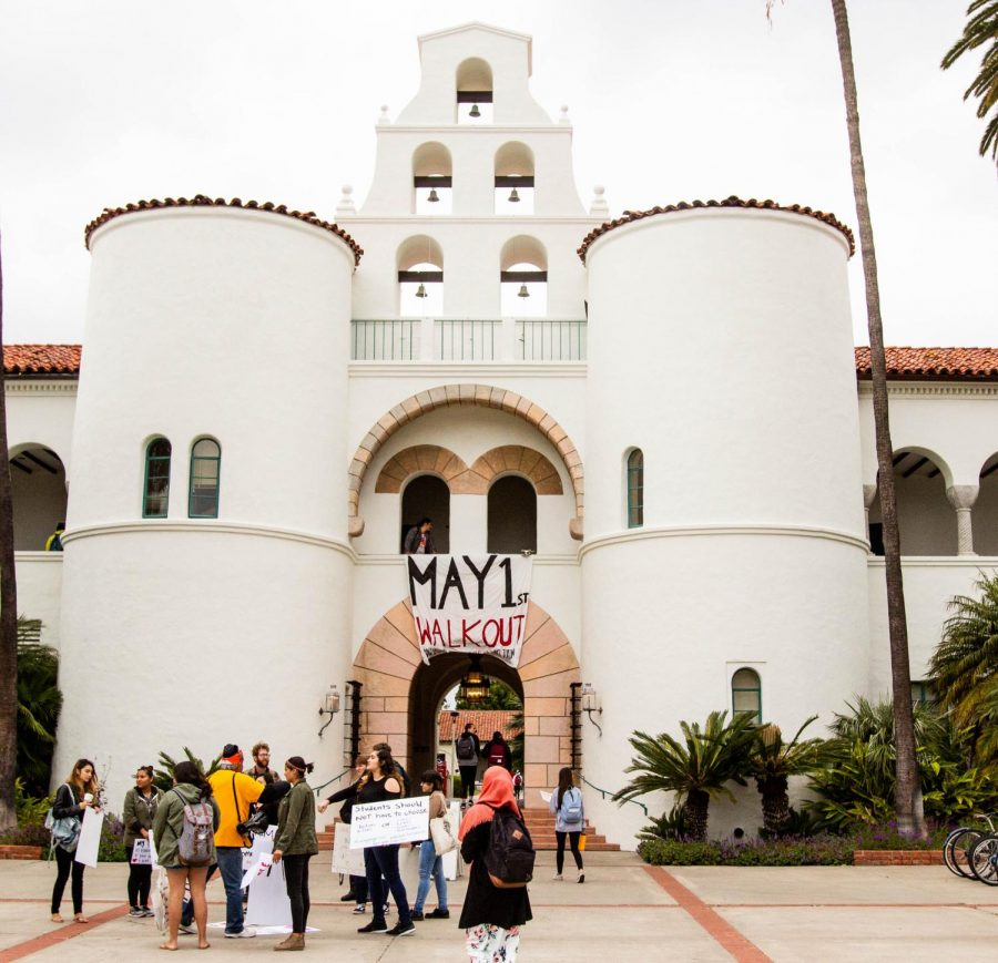 Students+prepare+for+a+demonstration+on+May+1%2C+in+front+of+Hepner+Hall+to+advocate+for+better+on+campus+living+wages+and+other+issues.