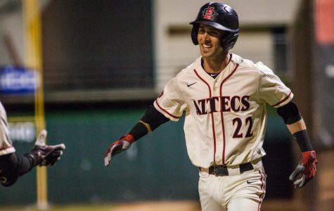 Senior infielder David Hensley celebrates after hitting a sacrifice fly during the Aztecs two-runseventh inning in a 2-1 victory over San Jose State on May 24 at Tony Gwynn Stadium.