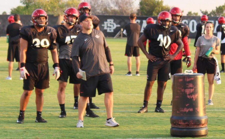 SDSU+defensive+coordinator+Zach+Arnett+oversees+a+drill+during+a+practice+on+Aug.+9.
