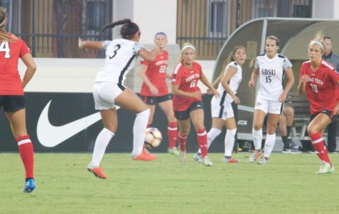 Freshman forward Taylor Moorehead handles the ball during the Aztecs 2-1 loss to Texas Tech on Aug. 24 at the SDSU Sports Deck.