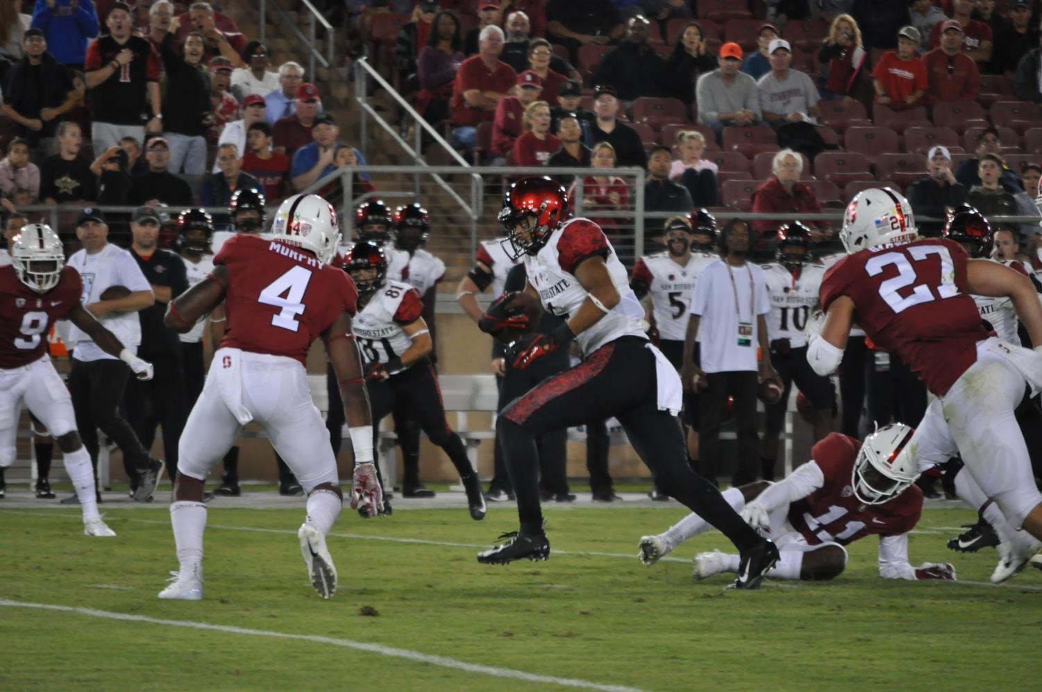 Sophomore wide receiver Tim Wilson Jr. runs after the catch during the Aztecs 31-10 loss to Stanford on Aug. 31 at Stanford Stadium.