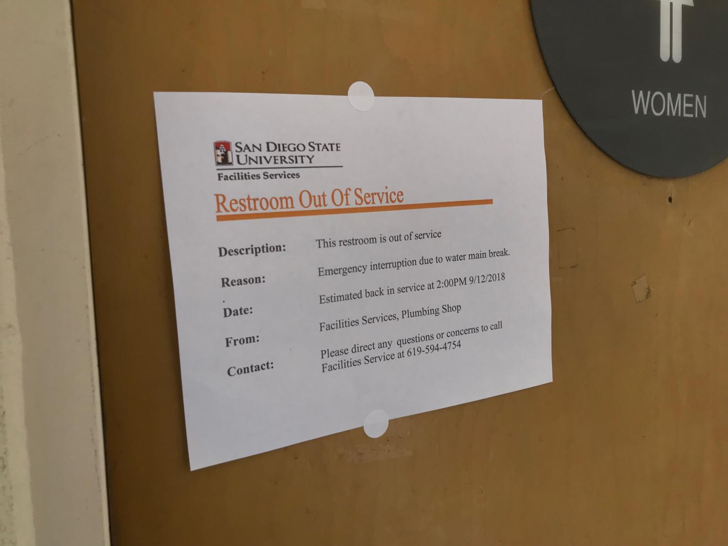 Restooms on campus closed due to College Area water outage.