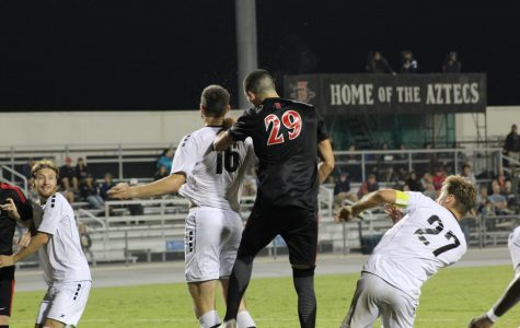 Junior midfielder AJ Valenzuela (29) challenges for a header during the Aztecs 2-1 victory over LIU Brooklyn on Sept. 7 at the SDSU Sports Deck.