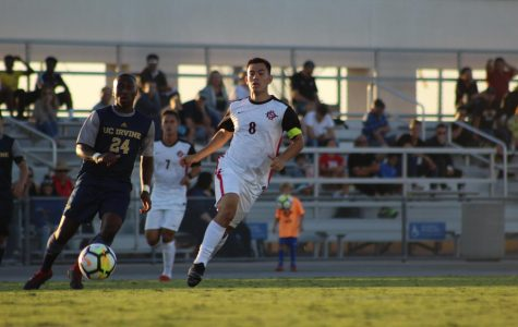 Redshirt junior midfielder Pablo Pelaez chases after the ball during the Aztecs 2-1 victory over UC Irvine on Sept. 9 at the SDSU Sports Deck.
