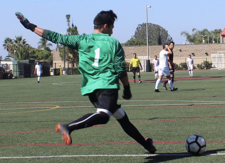 SDSU goalkeeper David Gasca boots the ball away during the Aztecs 1-0 loss to UC Davis on Sept. 29 at SDSU.