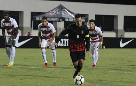 Then-junior midfielder Pablo Pelaez lines up for a kick during the Aztecs 2-1 victory over UNLV on Sept. 24, 2018 at the SDSU Sports Deck.