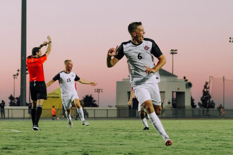 Junior midfeidler Emil Kjellker celebrates after scoring the game-winning goal in overtime of the Aztecs' 2-1 victory over UC Irvine on Sept. 9, 2018 at the SDSU Sports Deck.