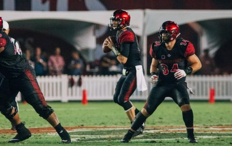 Junior quarterback Ryan Agnew looks to pass during the Aztecs 28-14 victory over Sacramento State on Sept. 8 at SDCCU Stadium.