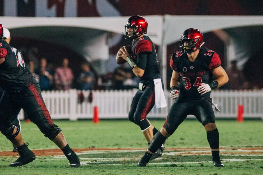 Junior+quarterback+Ryan+Agnew+looks+to+pass+during+the+Aztecs+28-14+victory+over+Sacramento+State+on+Sept.+8+at+SDCCU+Stadium.