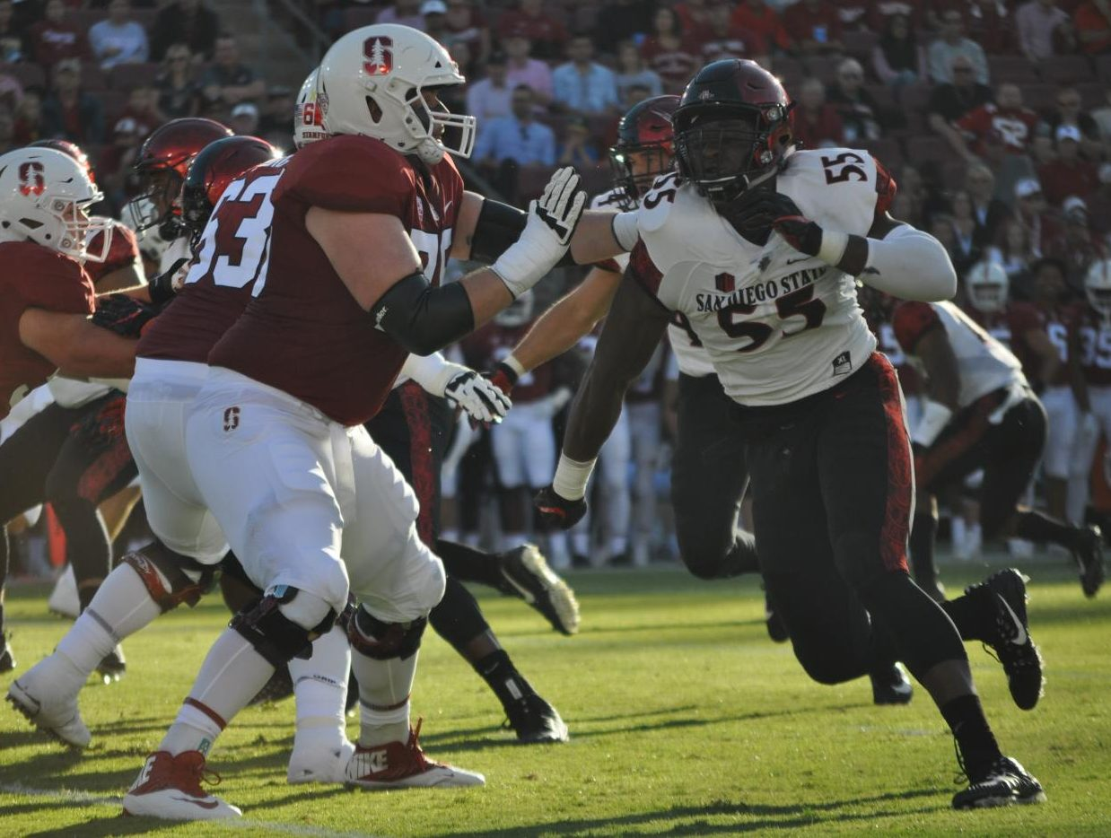 SDSU defensive lineman Chibu Onyeukwu (right) battles Stanford offensive lineman A.T. Hall (left) during SDSU's 31-10 road loss against Stanford on Aug. 31st.