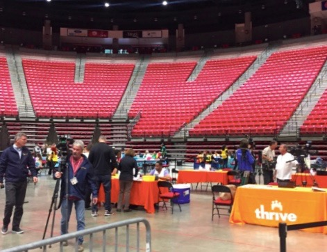 The first of two meningitis vaccination clinics took place in Viejas arena on Oct. 5.