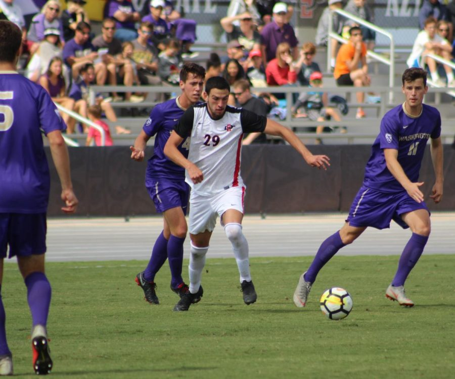 Then-junior+midfielder+AJ+Valenzuela+chases+after+the+ball+during+the+Aztecs%27+2-1+loss+to+Washington+on+Oct.+7%2C+2018+at+the+SDSU+Sports+Deck.