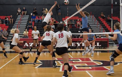 SDSU pulls off three-set sweep over crosstown rival USD