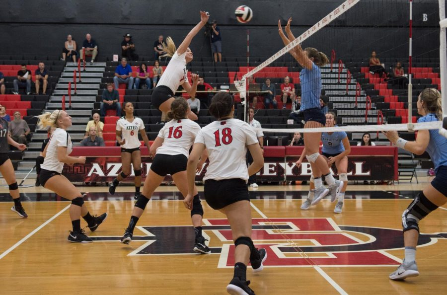 Junior outside hitter Hannah Turnlund finishes off a spike attempt during the Aztecs three-set victory over San Diego on Oct. 2 at Peterson Gym.
