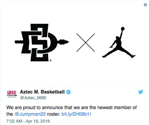 Screenshot of the men's basketball Twitter account announcing the team's move to joining the Jordan brand on April 16.