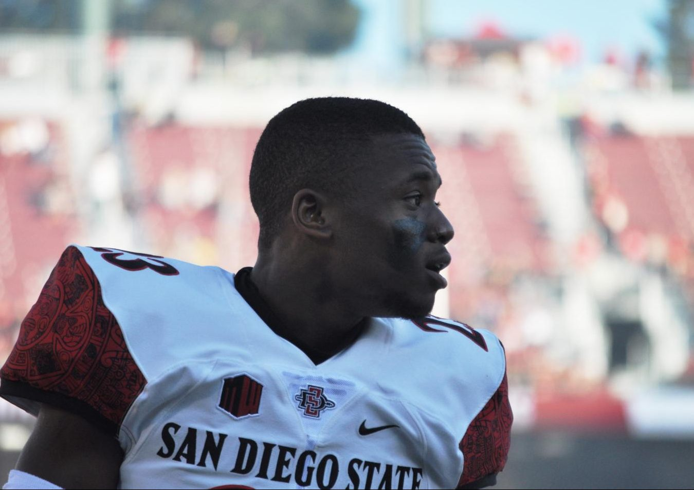 Redshirt freshman Darren Hall looks across the field during warmups before a road game on Aug. 31 at Stanford University.