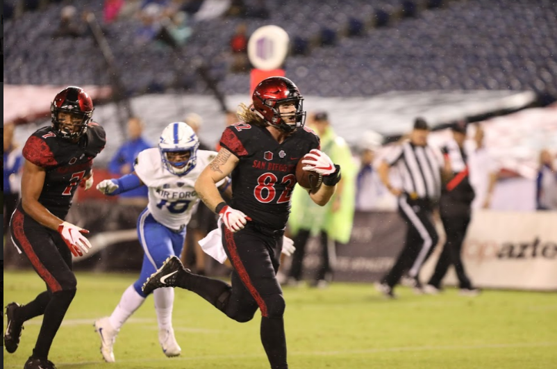 Junior tight end Parker Houston breaks away for the game-winning touchdown in the fourth quarter of the Aztecs' 21-17 victory over Air Force on Oct. 12 at SDCCU Stadium.