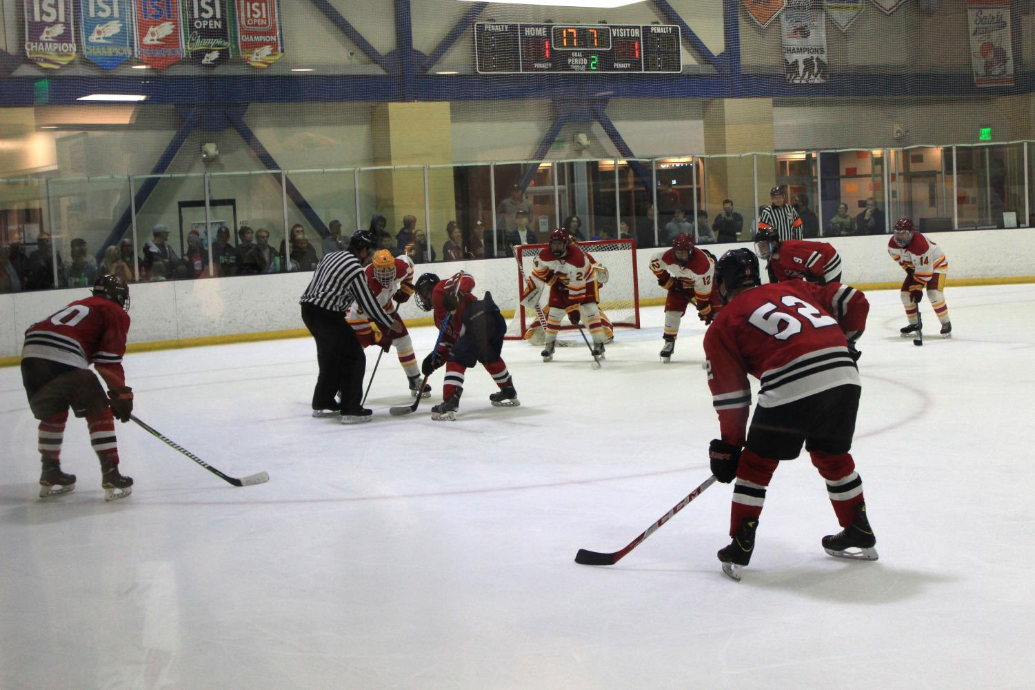 The Aztecs prepare for a face off against USC in the second period of a 6-2 victory over the Trojans on Nov. 3 at the Joan Kroc Center.