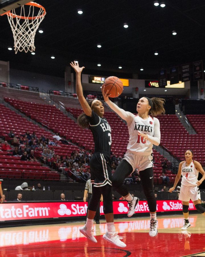 Sophomore guard Naje Murray goes up for a layup during the Aztecs 58-57 victory over Hawaii on Nov. 9 at Viejas Arena.